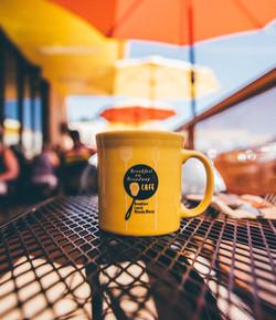 Coffee mug on the patio