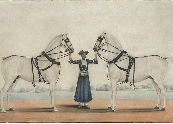 A_Syce_(Groom)_Holding_Two_Carriage_Hors