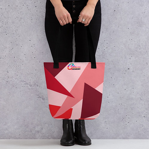 Colours Academy Pink and red triangle Tote bag