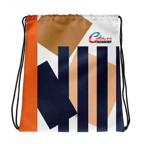 Colours Academy Brown and navy striped Drawstring bag