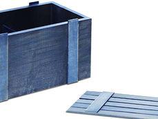 Деревянный реечный ящик с декоративным покрытием с перегородкой