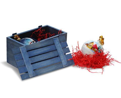 Деревянная подарочная упаковка для ёлочных игрушек и шариков
