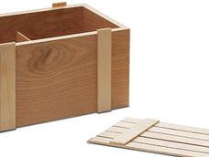 Деревянный реечный ящик с перегородкой