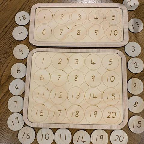 Wooden number board 1-10