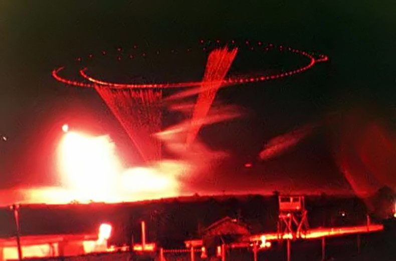 "1969 Pleiku VN AFB ""Puff the Magic Dragon"" raining Red Death on our attackers"