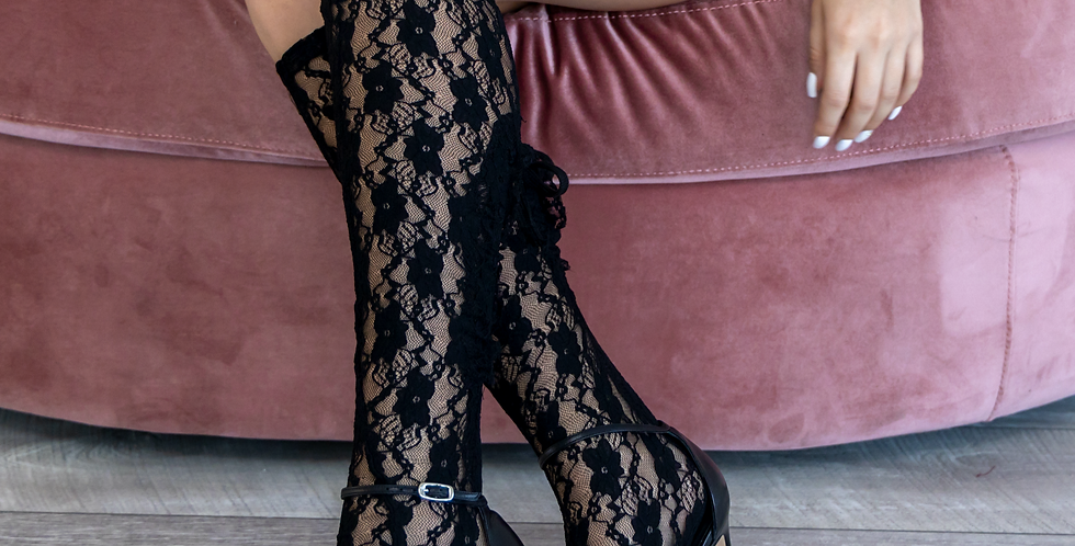 VAMPRESS Black Lace Knee High Cut Out Socks