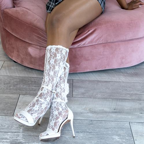Angel Garden Lace Knee-high Cut Out Socks
