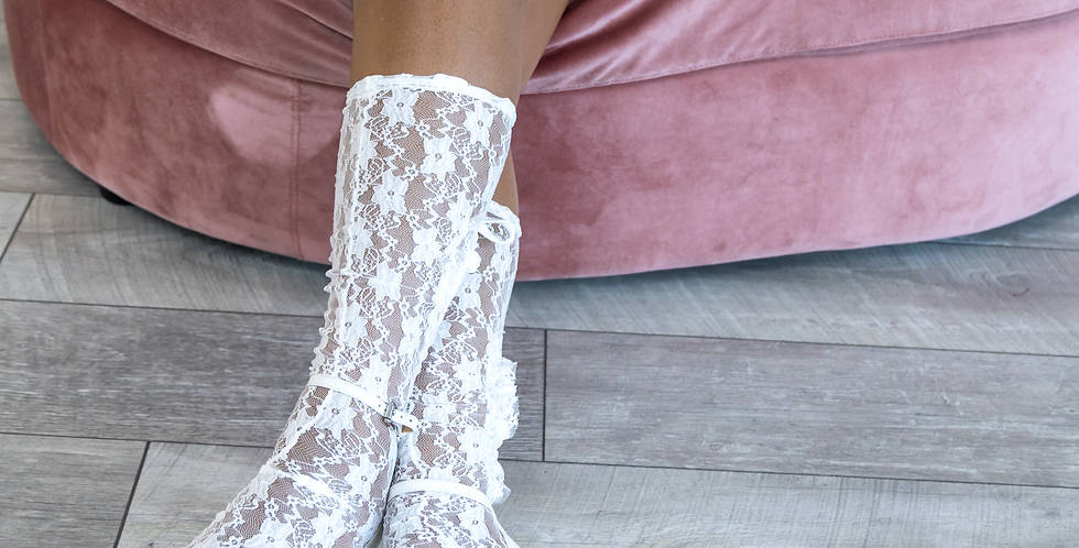 Angel Garden White Lace Knee-high Cut Out Socks
