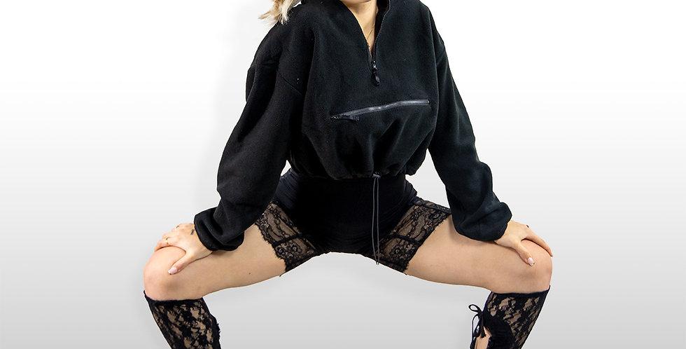 Cuddle Puss Crop Sweater In Black