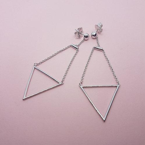 Long Triangle Silver Drop Earrings