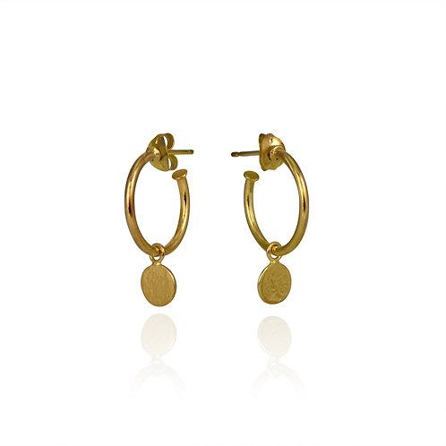 Cara Tonkin Paillette Drop Hoop Earrings Gold