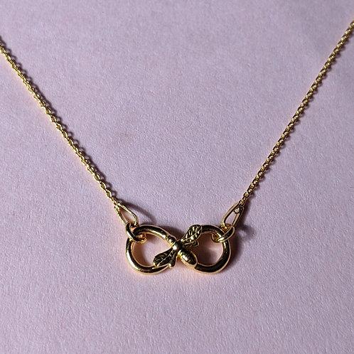 Gold infinity bee pendant