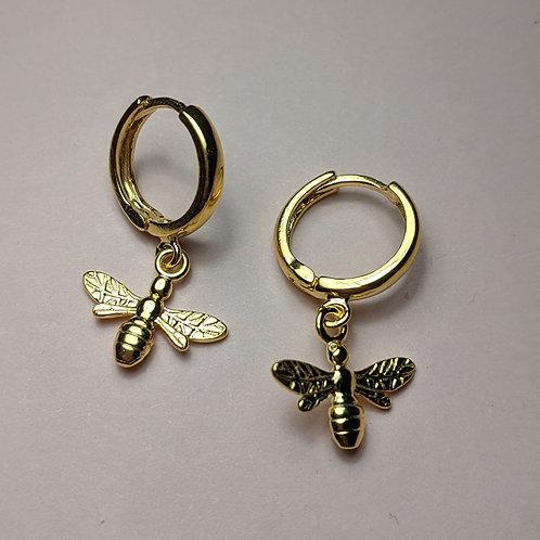 Gold Bee Charm Hoop Earrings