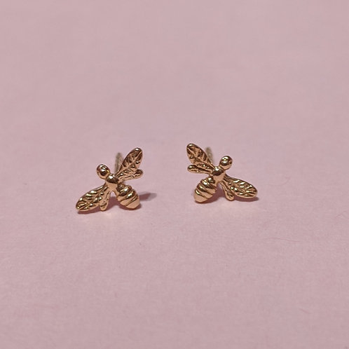 Mini Manchester bee stud earrings rose gold