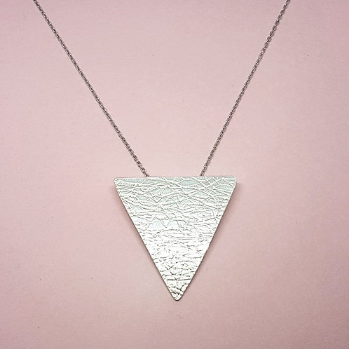 Silver textured triangle pendant