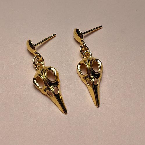Gold Raven Drop Earrings