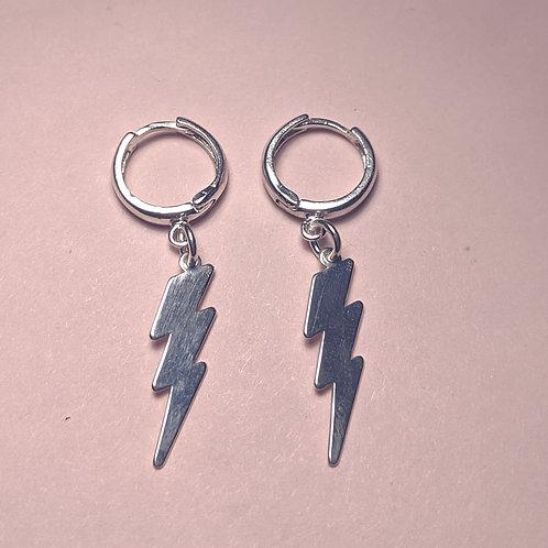Silver Ziggy lightning bolt hoop earrings