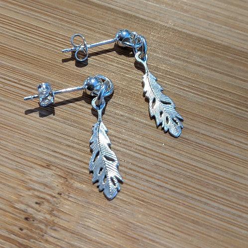 Silver feather drop earrings