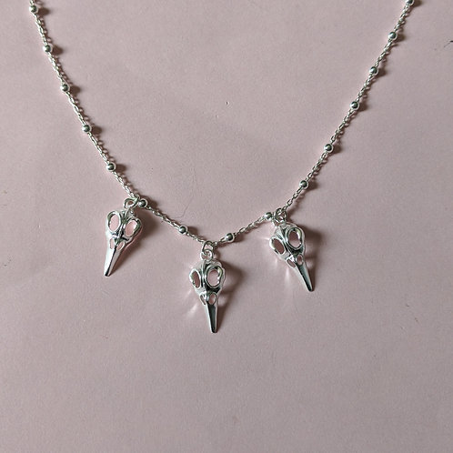 Raven charm necklace silver