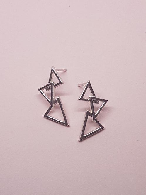 Three Peaks Triangle Silver Stud Earrings