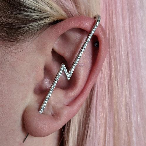 Lightning bolt cz ear climber pin silver