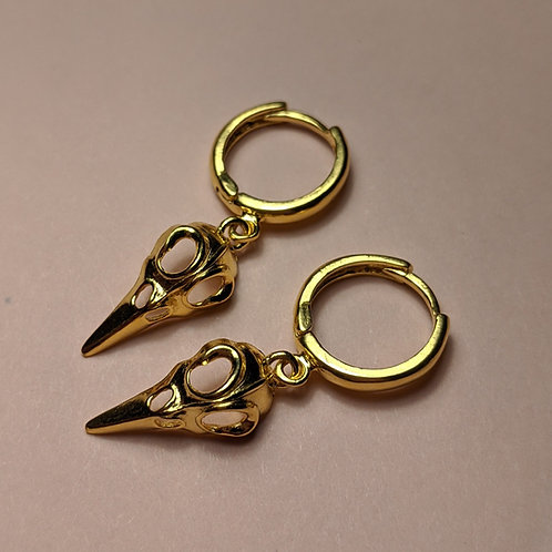 Raven skull hoop earrings gold