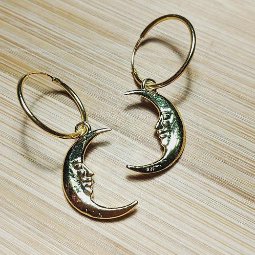 Gold moon hoop earrings