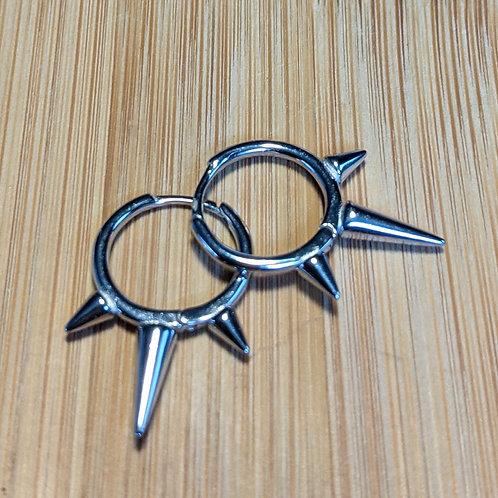 Silver spiked huggies hoop earrings