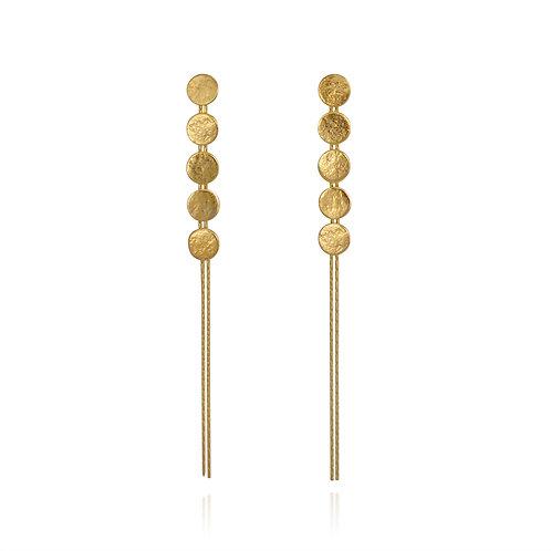 Cara Tonkin Paillette 5 Disc Drop Earrings Gold