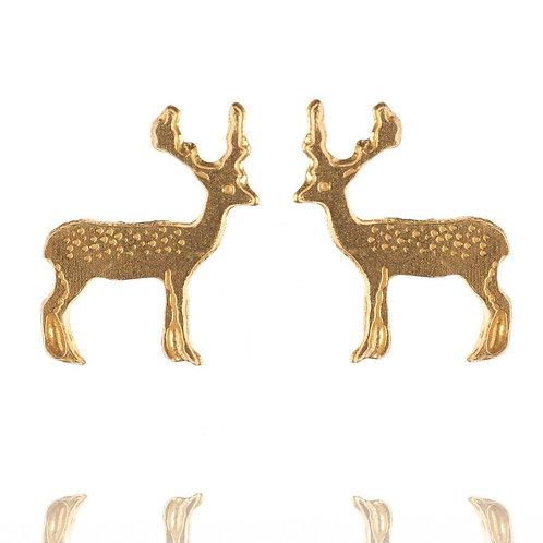 Amanda Coleman Stag Stud Earrings Gold