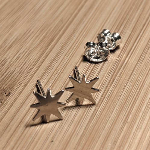 Silver Star Burst Stud Earrings
