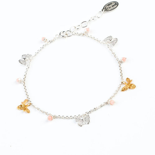 Amanda Coleman mini bee and butterfly bracelet