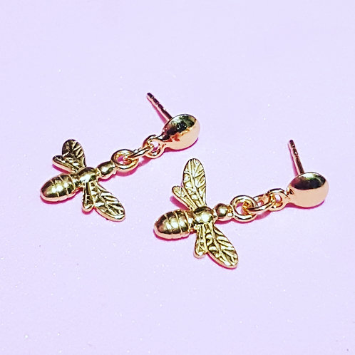 Gold bee drop earrings