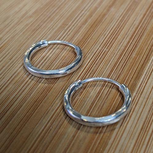 Patterned sterling silver hoop earrings