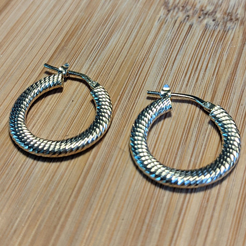 Gold twisted pattern hoops