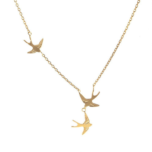 Amanda Coleman Three Swallows Necklace Gold