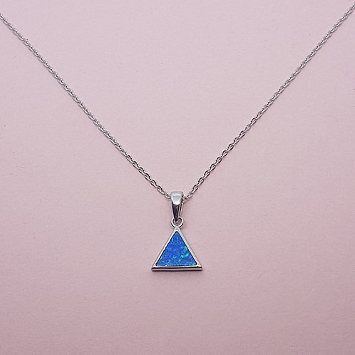Triangle Blue Opal Pendant Silver