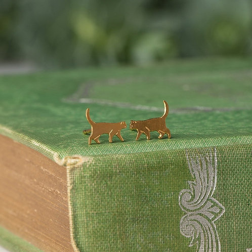 Amanda Coleman Tiny Walking Cat Stud Earrings