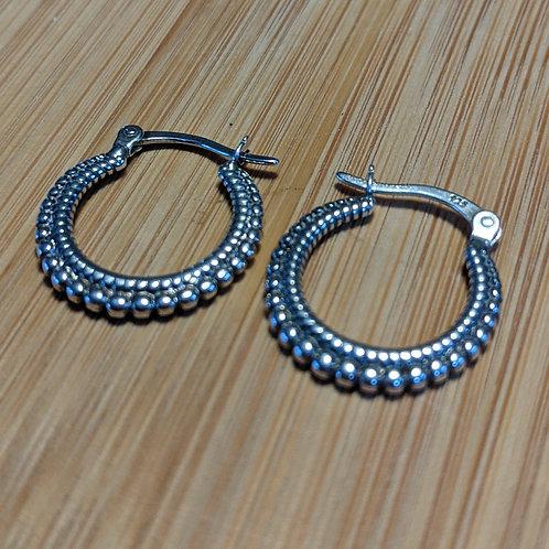 Silver beaded tribal hoop earrings