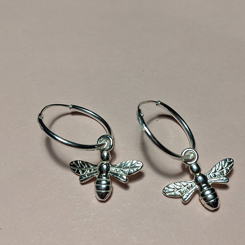 Silver bee hoop earrings