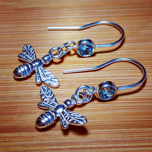 Bee hook earrings blue cz