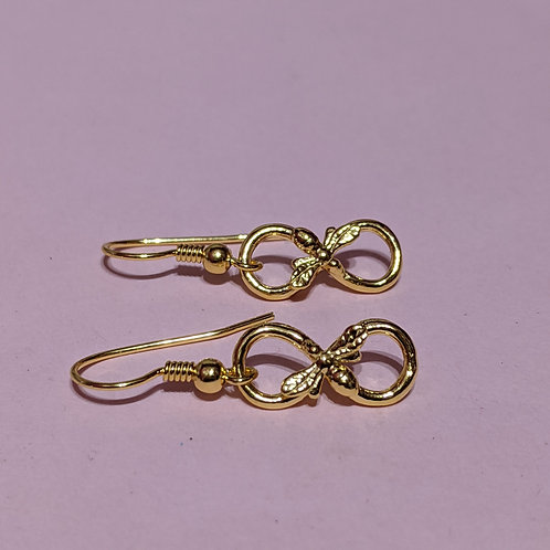 Gold infinity bee earrings