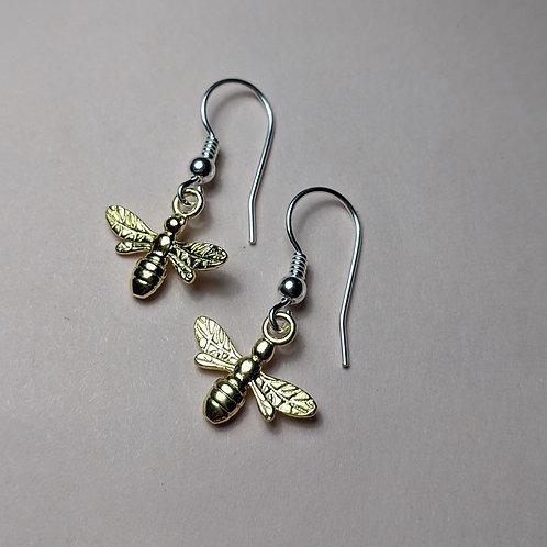 Mini Bee Earrings Gold
