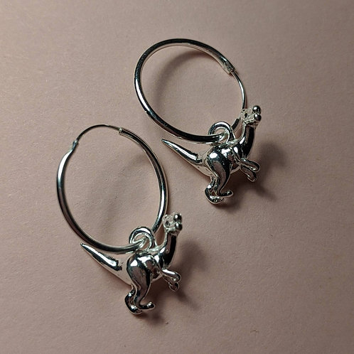 Sterling silver Dinosaur hoop earrings