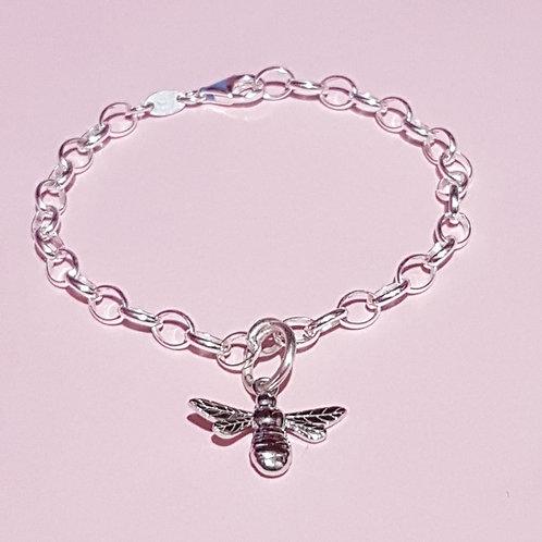 Sterling silver bee link bracelet