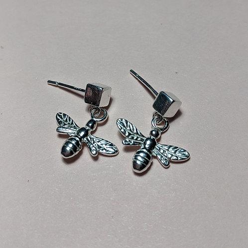 Sterling silver cube studs bee drop earrings