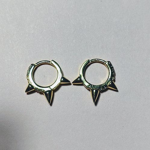 Mini Gold Huggie Spike Hoop Earrings