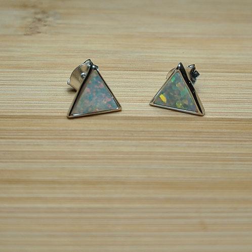 Sterling silver white opal triangle earrings