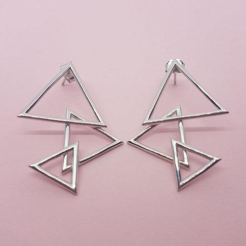 Three Peaks Triangle Earrings Silver