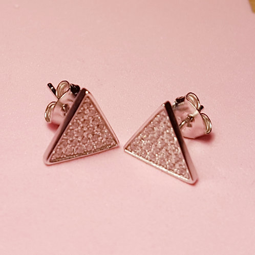 Silver triangle CZ stud earrings
